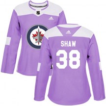 Winnipeg Jets Women's Logan Shaw Adidas Authentic Purple Fights Cancer Practice Jersey