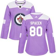 Winnipeg Jets Women's Michael Spacek Adidas Authentic Purple Fights Cancer Practice Jersey