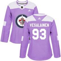 Winnipeg Jets Women's Kristian Vesalainen Adidas Authentic Purple Fights Cancer Practice Jersey