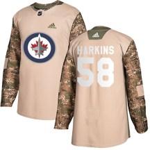 Winnipeg Jets Youth Jansen Harkins Adidas Authentic Camo Veterans Day Practice Jersey