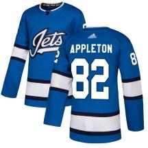 Winnipeg Jets Youth Mason Appleton Adidas Authentic Blue Alternate Jersey