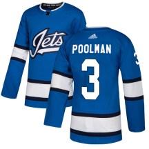 Winnipeg Jets Youth Tucker Poolman Adidas Authentic Blue Alternate Jersey