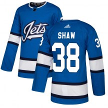 Winnipeg Jets Youth Logan Shaw Adidas Authentic Blue Alternate Jersey