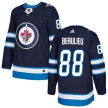 Winnipeg Jets Men's Nathan Beaulieu Adidas Authentic Navy Home Jersey