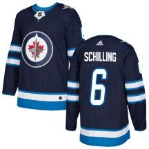 Winnipeg Jets Men's Cameron Schilling Adidas Authentic Navy Home Jersey