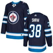 Winnipeg Jets Men's Logan Shaw Adidas Authentic Navy Home Jersey