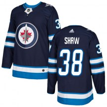 Winnipeg Jets Youth Logan Shaw Adidas Authentic Navy Home Jersey