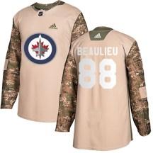 Winnipeg Jets Men's Nathan Beaulieu Adidas Authentic Camo Veterans Day Practice Jersey