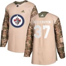 Winnipeg Jets Men's Connor Hellebuyck Adidas Authentic Camo Veterans Day Practice Jersey