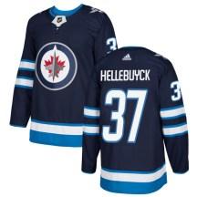 Winnipeg Jets Men's Connor Hellebuyck Adidas Authentic Navy Jersey