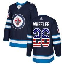 Winnipeg Jets Youth Blake Wheeler Adidas Authentic Navy Blue USA Flag Fashion Jersey