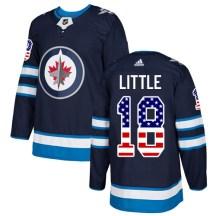 Winnipeg Jets Youth Bryan Little Adidas Authentic Navy Blue USA Flag Fashion Jersey