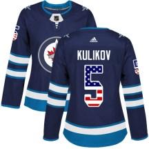 Winnipeg Jets Women's Dmitry Kulikov Adidas Authentic Navy Blue USA Flag Fashion Jersey