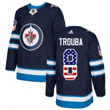 Winnipeg Jets Men's Jacob Trouba Adidas Authentic Navy Blue USA Flag Fashion Jersey