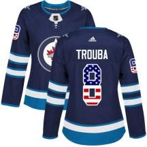 Winnipeg Jets Women's Jacob Trouba Adidas Authentic Navy Blue USA Flag Fashion Jersey