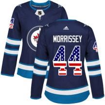 Winnipeg Jets Women's Josh Morrissey Adidas Authentic Navy Blue USA Flag Fashion Jersey