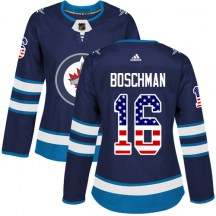 Winnipeg Jets Women's Laurie Boschman Adidas Authentic Navy Blue USA Flag Fashion Jersey