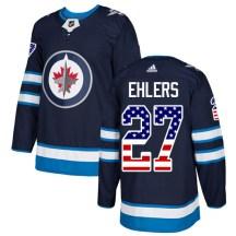 Winnipeg Jets Youth Nikolaj Ehlers Adidas Authentic Navy Blue USA Flag Fashion Jersey