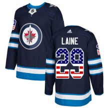 Winnipeg Jets Youth Patrik Laine Adidas Authentic Navy Blue USA Flag Fashion Jersey