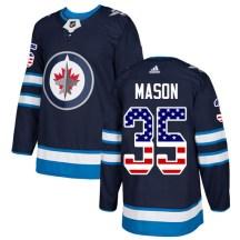 Winnipeg Jets Youth Steve Mason Adidas Authentic Navy Blue USA Flag Fashion Jersey