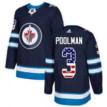 Winnipeg Jets Men's Tucker Poolman Adidas Authentic Navy Blue USA Flag Fashion Jersey