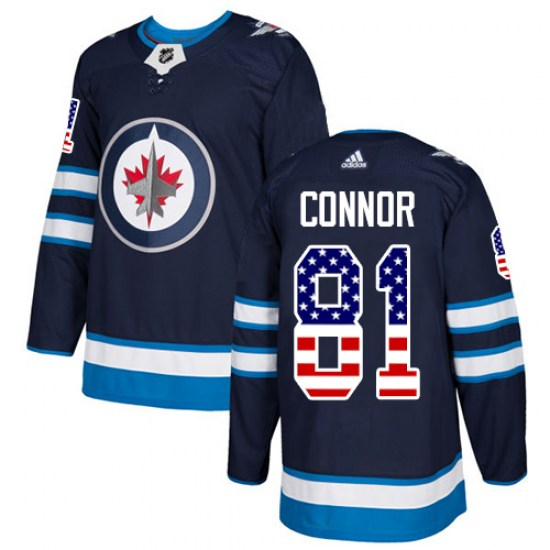 Winnipeg Jets Youth Kyle Connor Adidas Authentic Navy Blue USA Flag Fashion Jersey